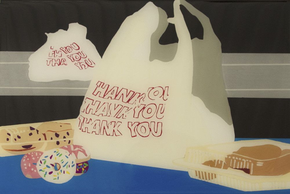 Abbie Davies, Plastic Bag and Pastries Still Life, Gouache, enamel and resin on wooden panels