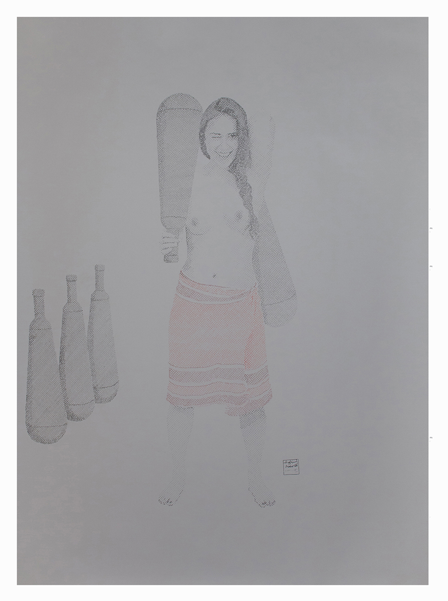 From zourkhaneh Series.200x150cm pencile on paper