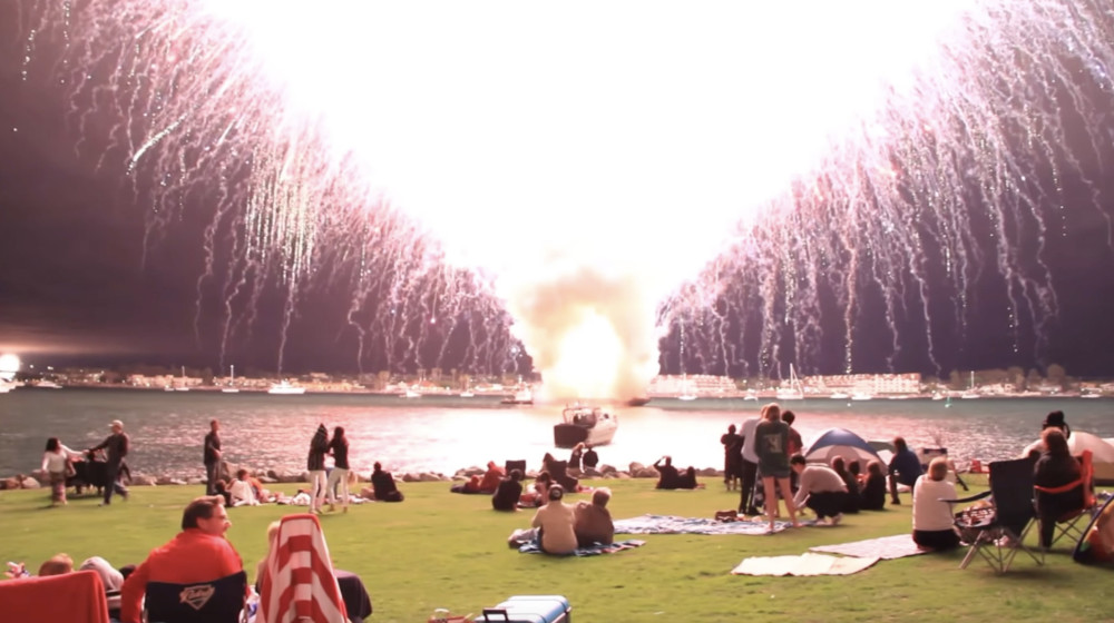 "Still from: Garrett Pruter, 7,000 fireworks, 16'30"", Digital Video, 2020"