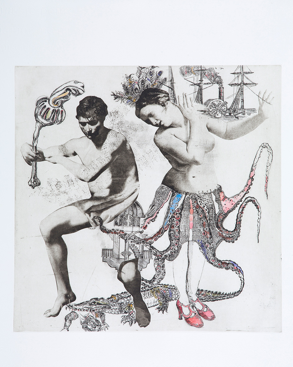 Kidnapper, etching on paper, 71 x 71 cm, edition of 11, 2017