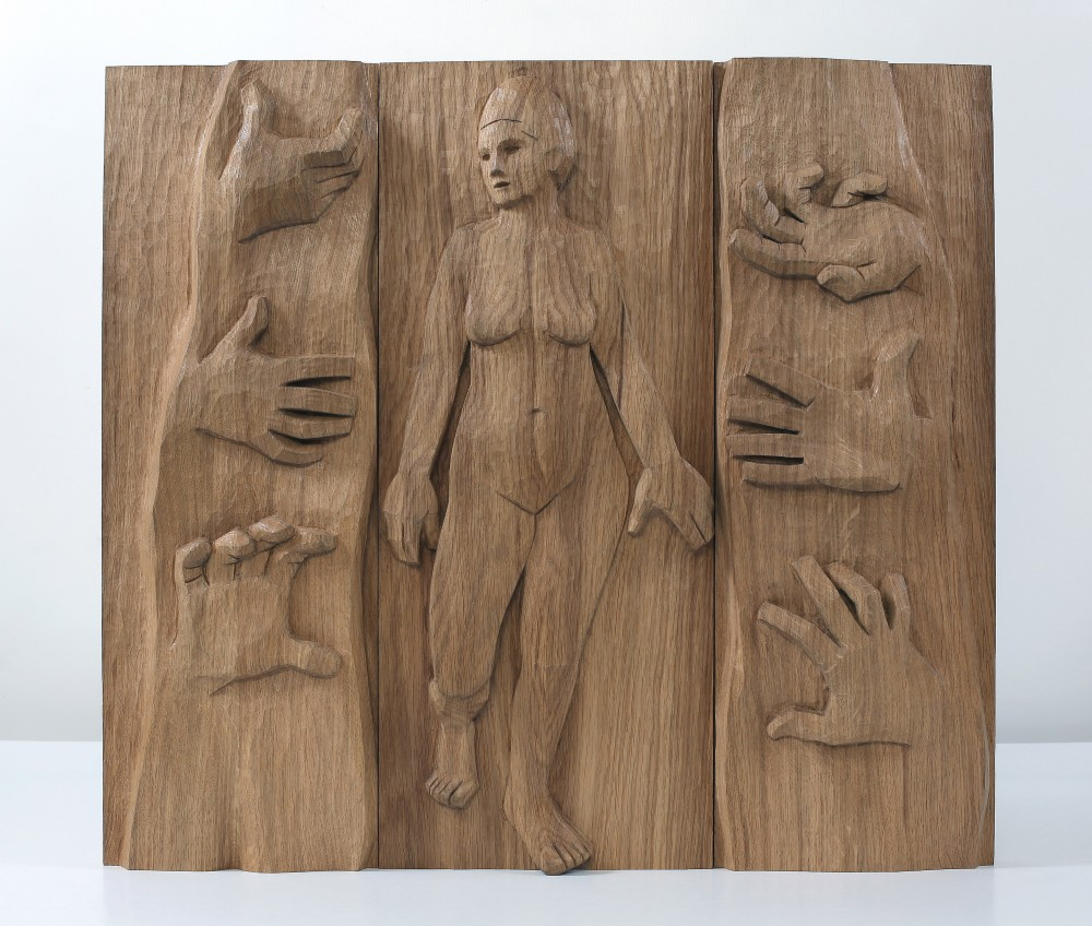 No Saving Touch Of Ugliness. Carved Planked Oak Panel 56x62x6cms