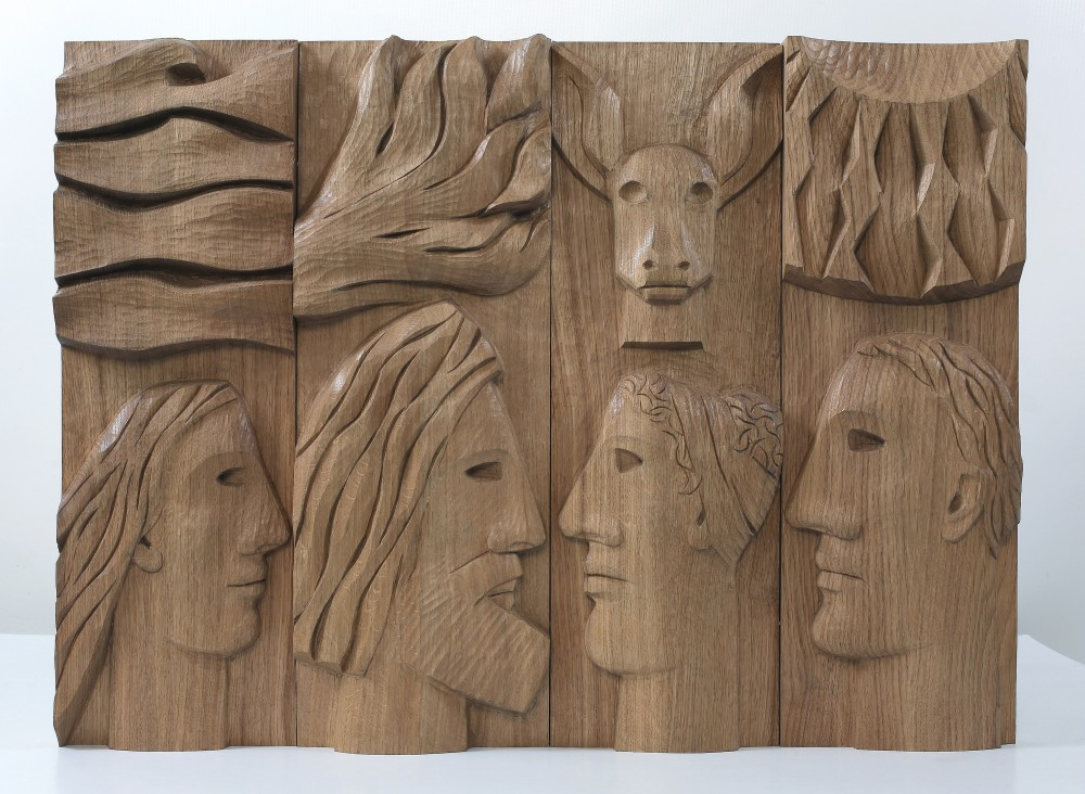 Our Gods Are Out. Carved Planked Oak Panel 56x76x6cms