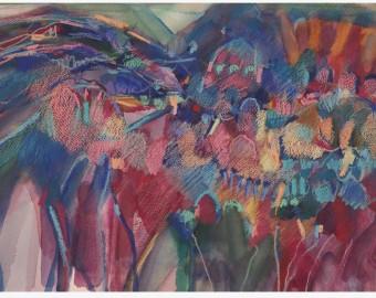 THRESHING SITE      2014        46 X 33 cm watercolour and watercolour crayon