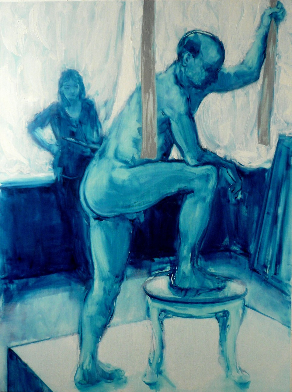 Performance with Straps  2017  oil on canvas  163 x 122 cm
