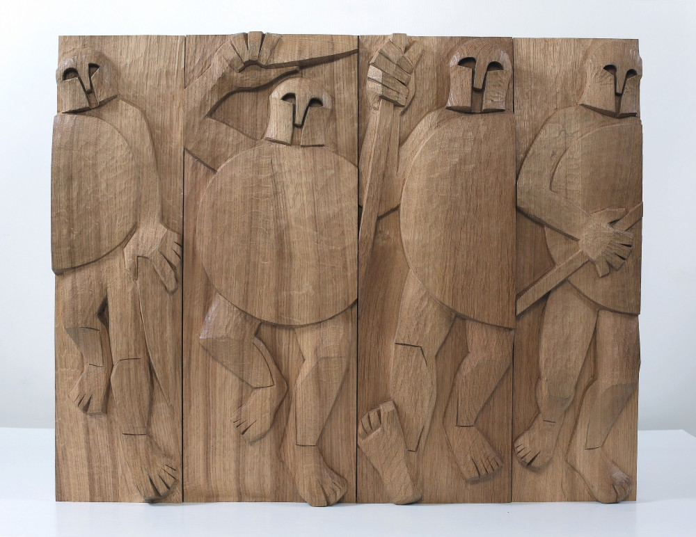 Plate-faced Warriors. Carved Planked Oak Panel 56x69x5cms