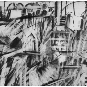 DISTANT DOMES      2013       54 X 33 cm pencil and graphite stick
