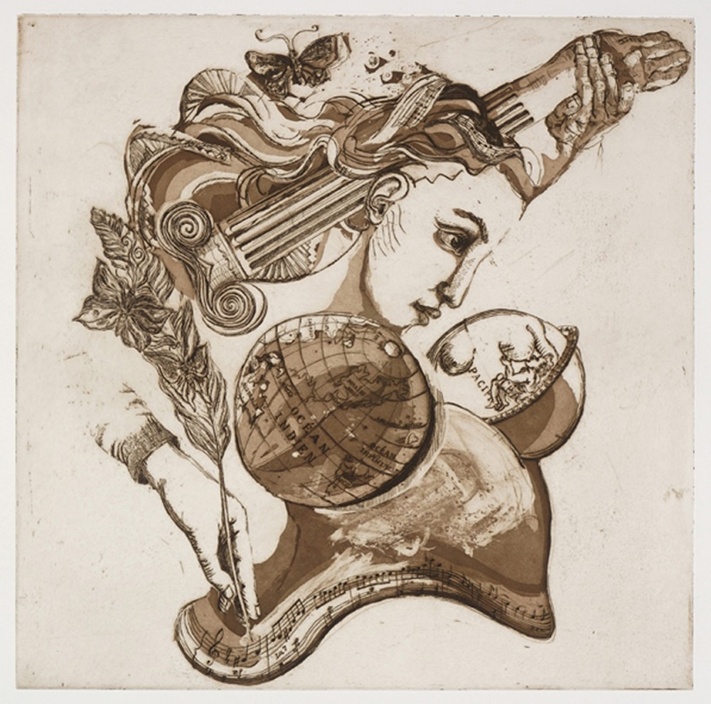 Reine des arts, etching on paper, 61 x 61 cm, edition of 11, 2011