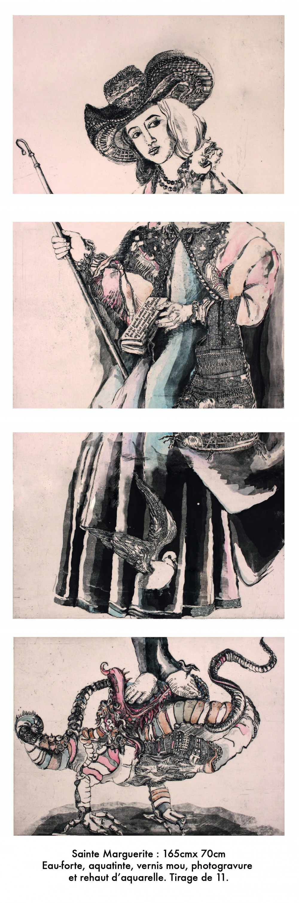 Saint Margaret, etching on paper, 137 x 58.4 cm, edition of 11, 2013