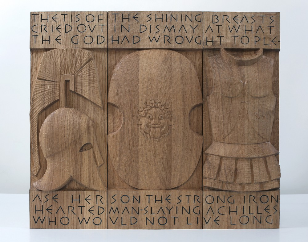 Showcase Plate. Carved Planked Oak Panel 56x64x6cms