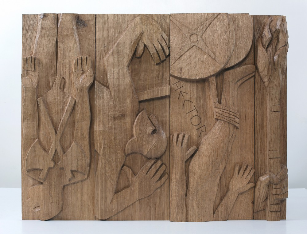 The Keres Sisters Sang. Carved Planked Oak Panel 56x72x6cms