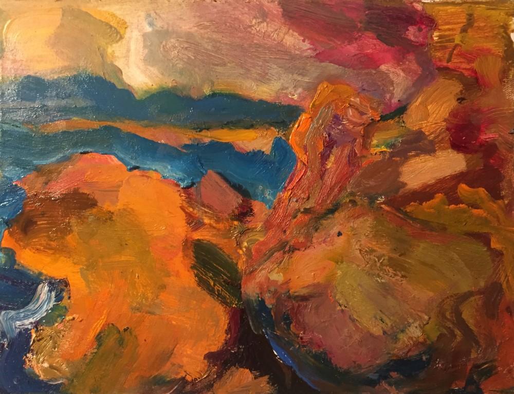 Formentera; last light - Oil on Board  26 x 20 cm