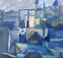 Jerusalem; rooftops, evening - Oil on Board  26 x 20 cm