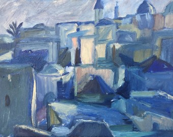 Jerusalem; rooftops, evening - Oil on Board  26 x 20 cm